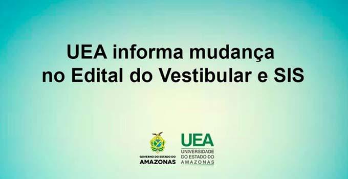 UEA informa mudança no Edital do Vestibular e SIS