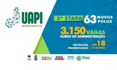 Universidade Aberta do Piauí (UAPI): Vestibular é prorrogado até 18 de setembro