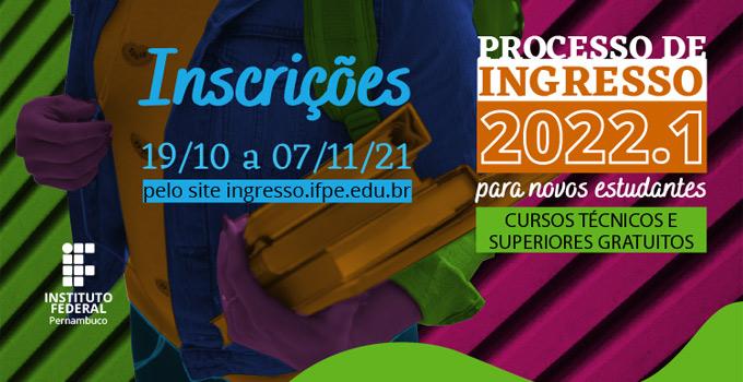 IFPE abre inscrições para o Processo de Ingresso 2022.1